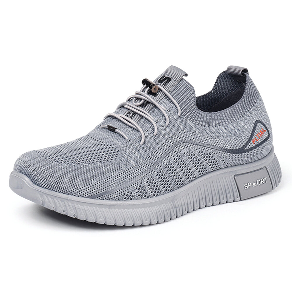 Men Knitted Fabric Breathable Soft Sole Non Slip Walking Shoes