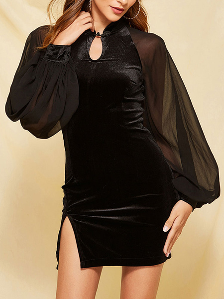 Milanoo Black Velvet Sexy Mini Dress Women Long Sleeve Vintage Bodycon Dress