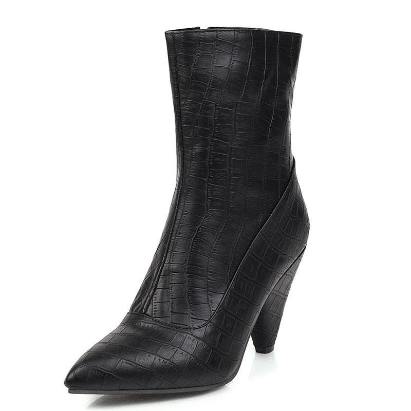 Ericdress Side Zipper Plain Pointed Toe Boots