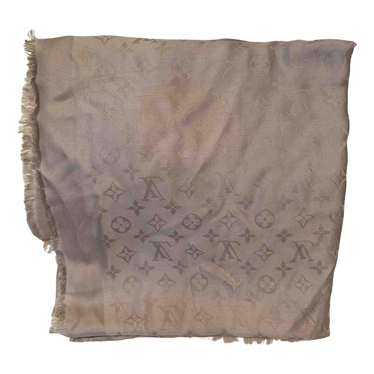 Louis Vuitton Châle Monogram Beige Silk scarf for Women \N