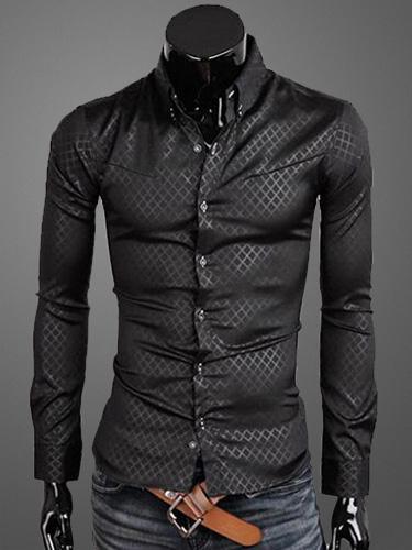 Milanoo Turndown Collar Long Sleeves Cotton Men's Casual Shirt