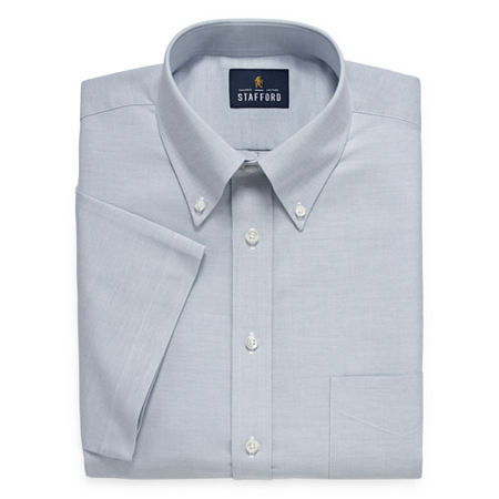 Stafford Travel Wrinkle Free Stretch Oxford Short Sleeve Button Down Collar Big And Tall Mens Dress Shirt, 20 , Blue