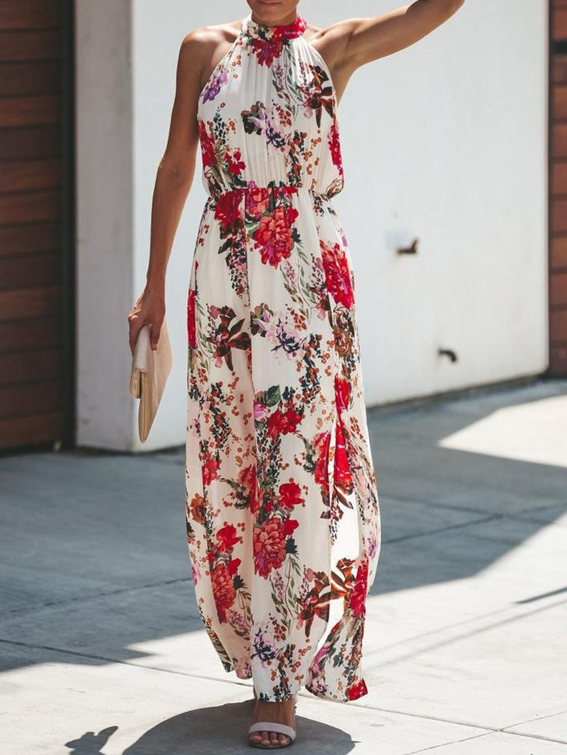 Ericdress Print Pleated Ankle-Length Sleeveless Mid Waist Maxi Dress