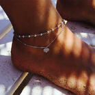 Multi-Layered Heart Beading Rhinestone Anklet