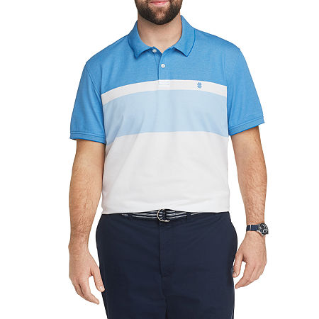 IZOD Mens Cooling Short Sleeve Polo Shirt Big and Tall, X-large Tall , Blue