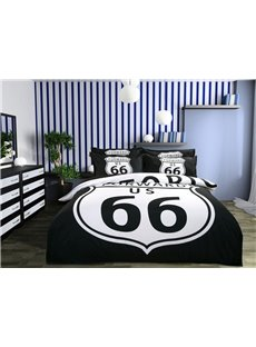 Cool Black Route 66 Print 4-Piece Polyester Duvet Cover Sets