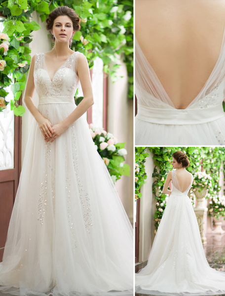 Milanoo Wedding Dresses Sequin V Neck Bridal Gown Backless Ivory Sash Tulle Court Train Wedding Gown