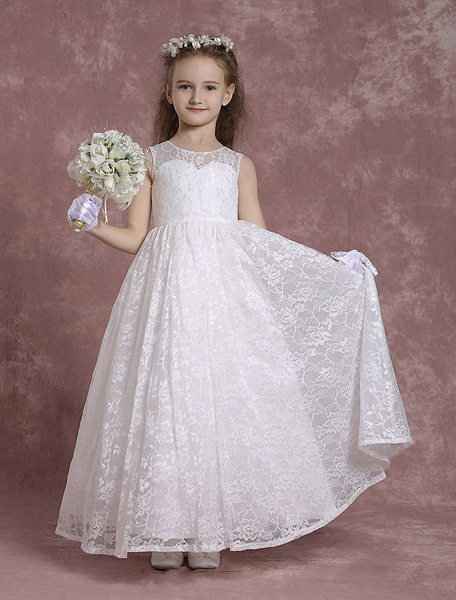 Milanoo Lace Flower Girl Dresses A Line Pageant Dresses Toddler's Ivory Zipper Sleeveless Ankle Length First Communion Dresses
