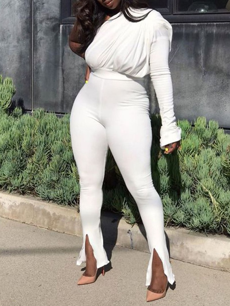 Ericdress One Shoulder Plain Full Length Skinny Jumpsuit