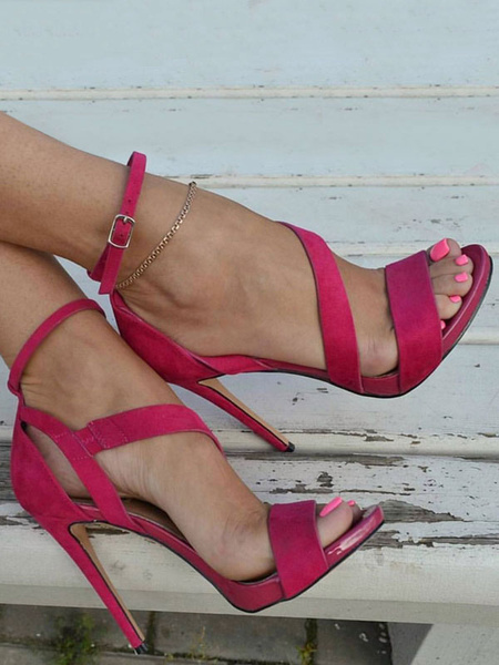Milanoo High Heel Sandals Womens Suede Open Toe Ankle Strap Sandals Stiletto Heels Sandals