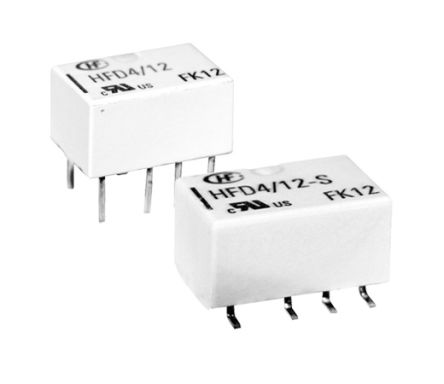 Hongfa Europe GMBH , 12V dc Coil Non-Latching Relay DPDT, 2A Switching Current Surface Mount, 2 Pole (50)