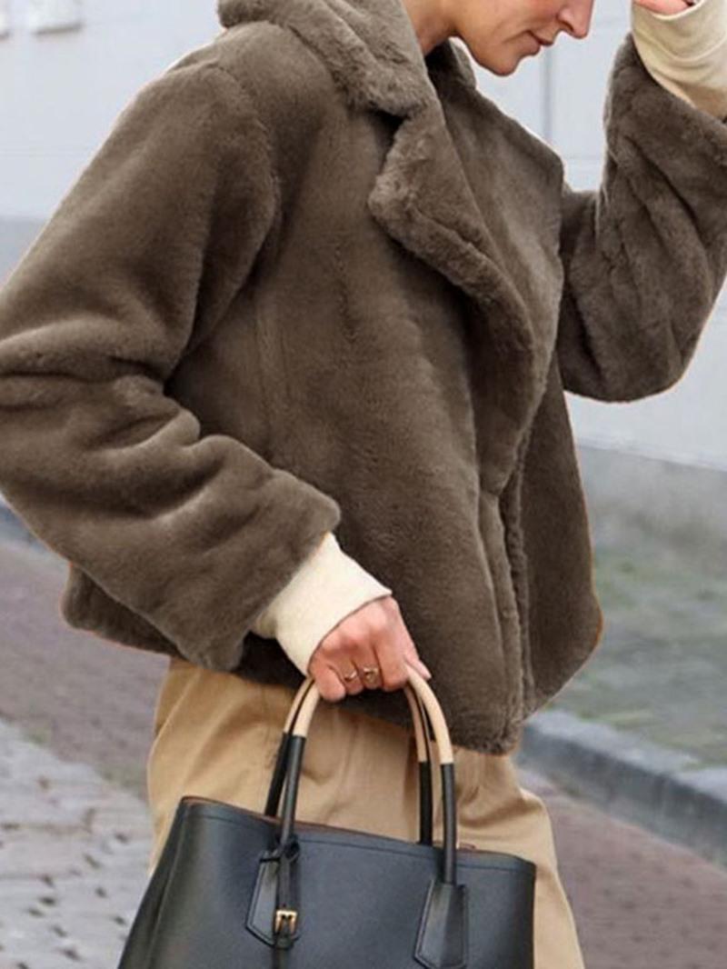Ericdress Lapel Standard Regular Straight Wrapped Women's Overcoat