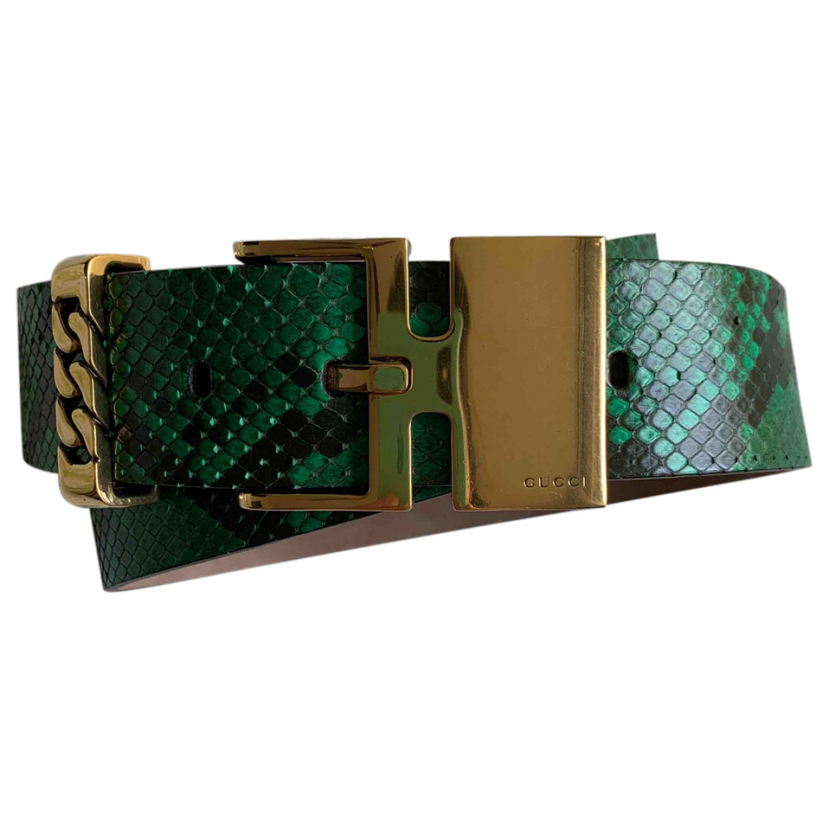 Gucci \N Green Python belt for Women 85 cm