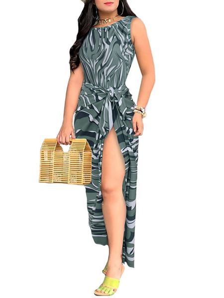 Milanoo Beachwear Sets Print Sexy Backless Bodysuit With Sarong