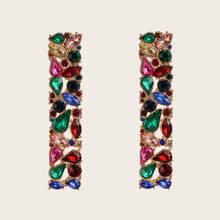 1pair Colorful Gemstone Decor Geometric Earrings