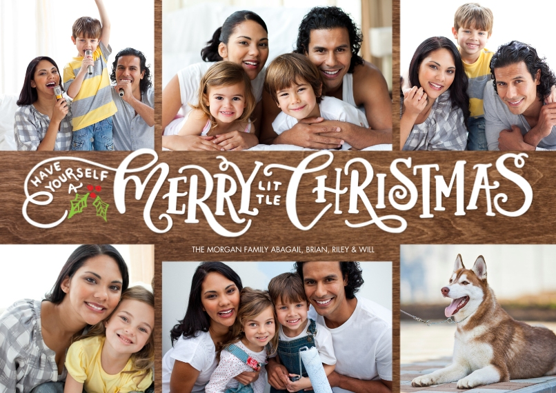 Christmas Photo Cards 5x7 Cards, Standard Cardstock 85lb, Card & Stationery -Christmas Gold Letters by Tumbalina