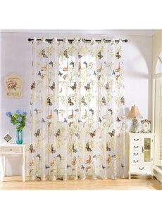 Pastoral Style Decorative HD Colorful Butterflies Print Custom Sheer Curtains