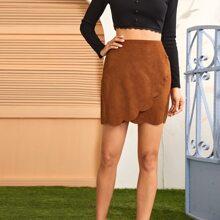 Zipper Side Scallop Edge Solid Skirt
