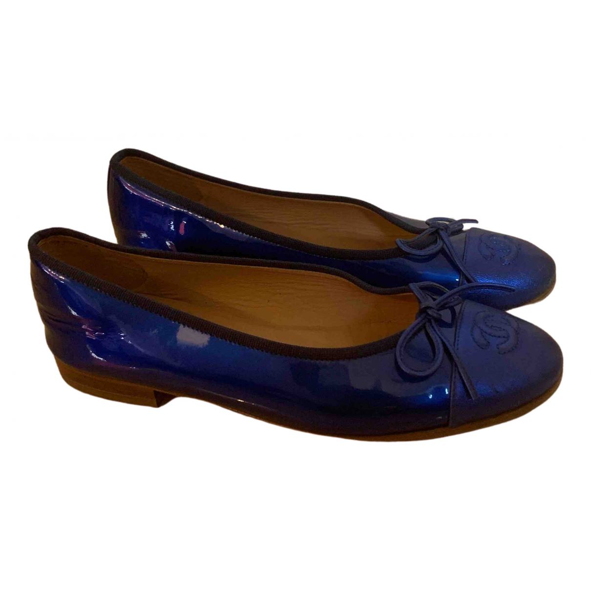 Chanel \N Blue Patent leather Ballet flats for Women 36.5 EU