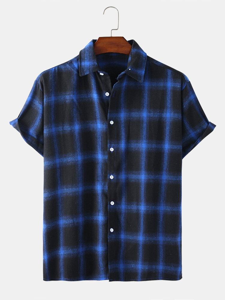 Mens Plaid Daisy Print Light Casual Breathable Short Sleeve Shirts