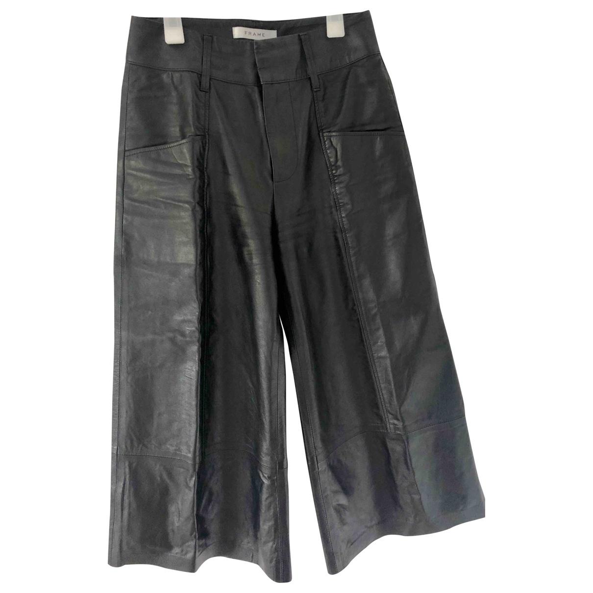 Frame Denim \N Black Leather Trousers for Women 34 FR