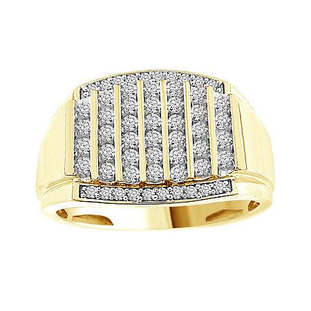 Mens 1/2 CT. T.W. Genuine White Diamond 10K Gold Fashion Rings, 10 1/2 , No Color Family