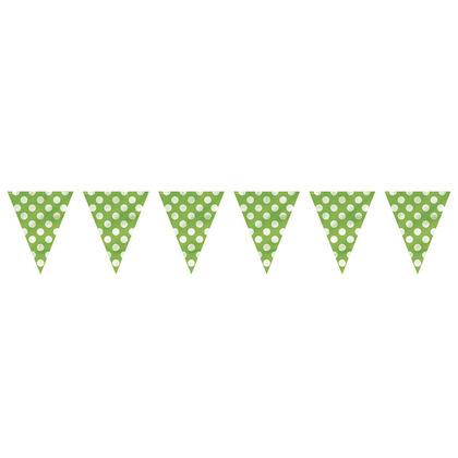Lime Green Polka Dot Party Decor Pennant Flag Banner, 12ft