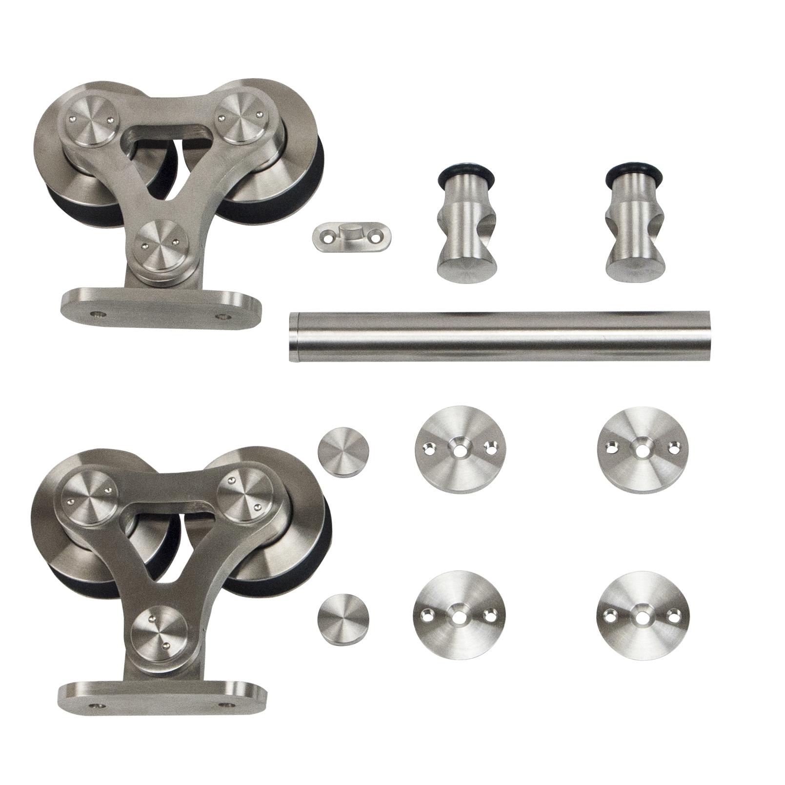 6.6 Ft. Stainless Steel Top Mount Dual Wheel Rolling Door Hardware Kit for Wood Doors