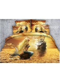 Ocean Ghost Ship and Mermaid Printed Cotton No-fading Soft 3D 4-Piece Bedding Sets/Duvet Covers