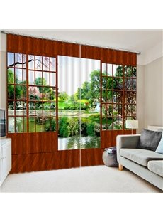 3D Nature Scenery with Wooden Door Printed High Quality Polyester Blackout Custom Living Room Curtain