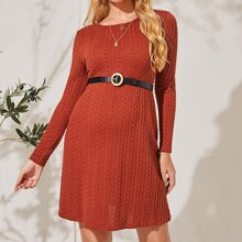 Maternity Cable Knit Solid Dress Without Belt