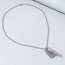 Men Geometric Letter Charm Necklace