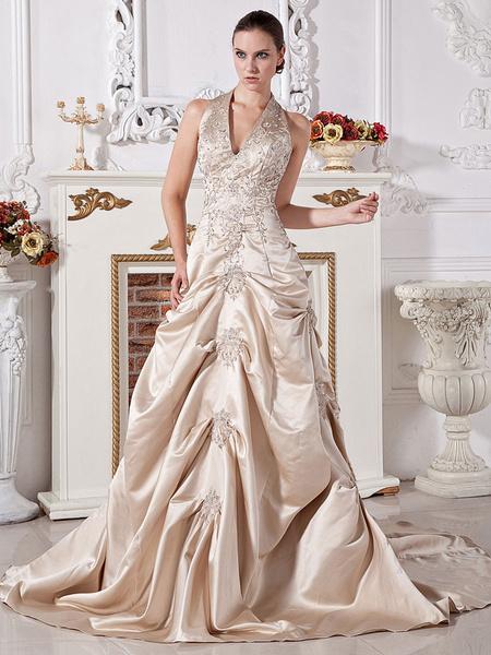 Milanoo Ball Gown Halter V-Neck Beaded Applique Satin Wedding Dress