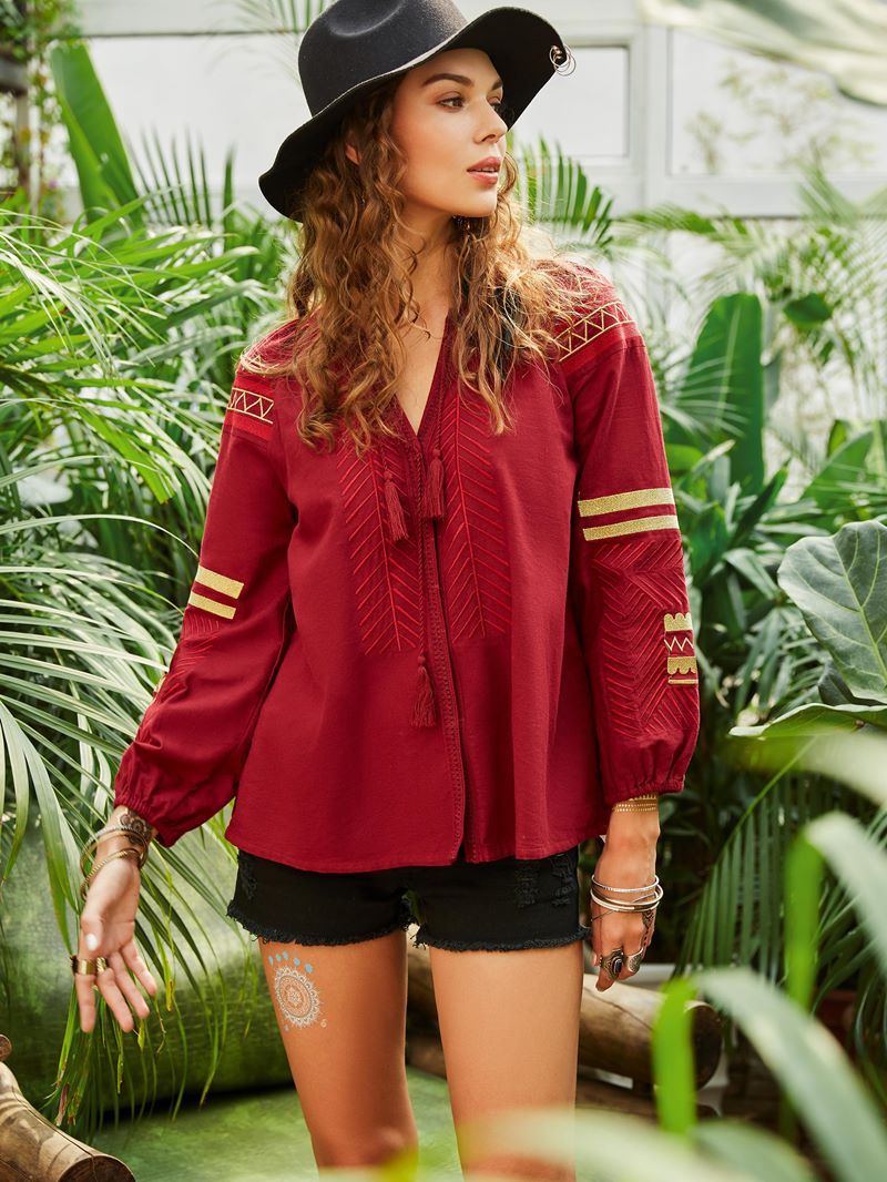 Ericdress Loose Tassel Embroidery Lantern Sleeve Blouse
