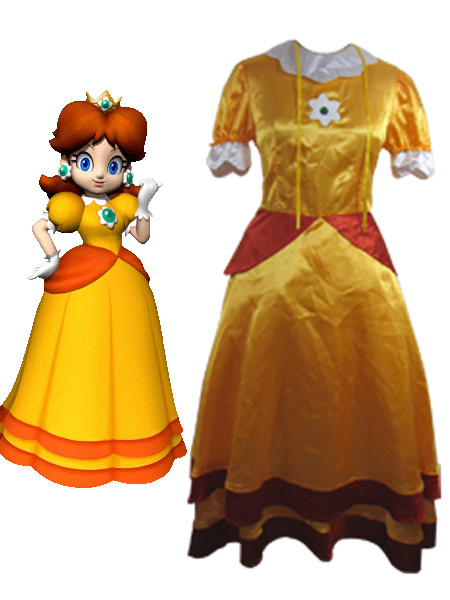 Milanoo Super Mario Bros Daisy Cosplay Costume Halloween