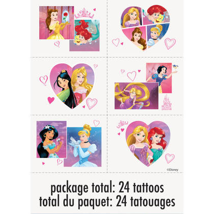 Princess 4 Tattoo Sheets/Favors For Birthday Party