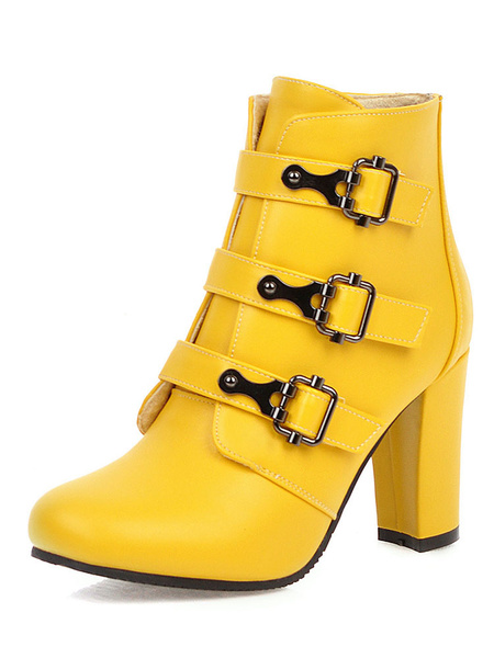 Milanoo Women Ankle Boots Square Toe Buckle Detail Chunky Heel 3.3 Booties