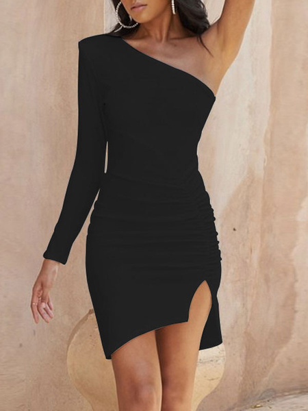 Milanoo Sexy Bodycon Dresses One Shoulder Slit Ruched Mini Dress