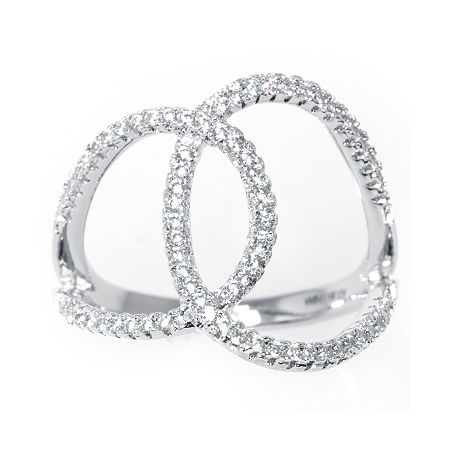 Silver Treasures Cubic Zirconia Sterling Silver Overlapping Circles Ring, 9 , No Color Family