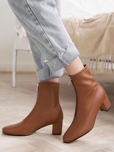 Milanoo Women Ankle Boots Cowhide Leather Square Toe 2 Block Heel Booties