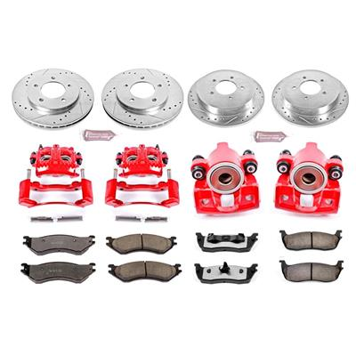Power Stop Z36 Extreme Performance Truck & Tow 1-Click Front and Rear Brake Kit with Calipers - KC1870-36