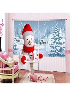 Super Cute Snowman Looking at You Smiling Printing Christmas Theme 3D Curtain