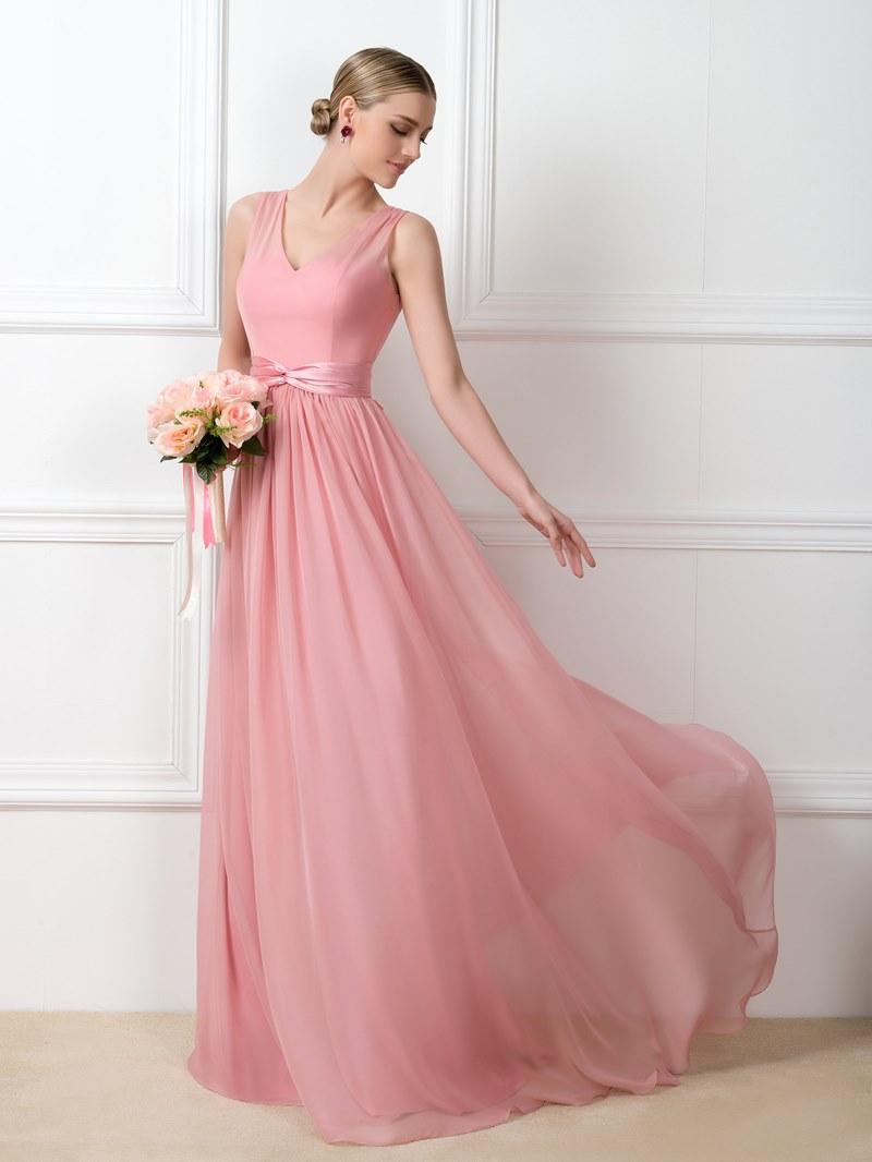 Ericdress A-Line V-Neck Sashes Long Bridesmaid Dress