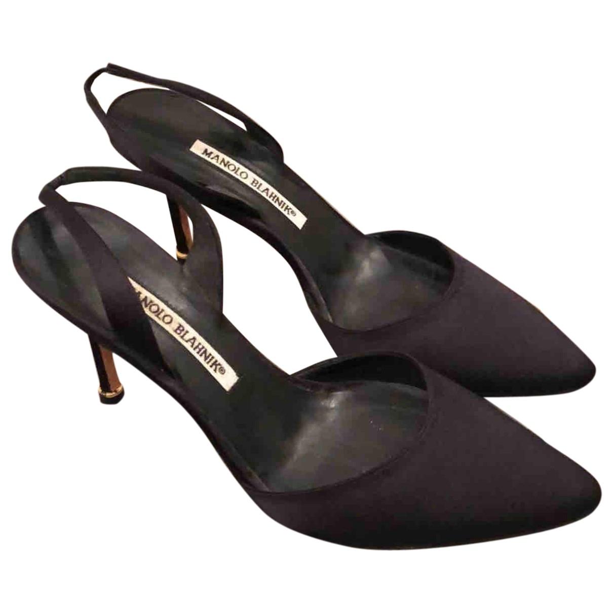 Manolo Blahnik \N Black Cloth Heels for Women 36.5 EU