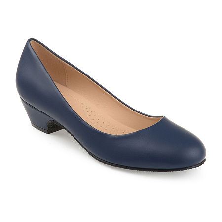 Journee Collection Womens Saar Pumps Block Heel, 6 Medium, Blue