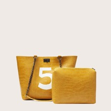 Croc Embossed Tote Bag & Inner Pouch