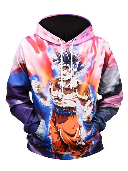 Milanoo Hoodie For Men 3D Print Dragon Ball Print Hooded Long Sleeve Pullover Casual Sweatshirt