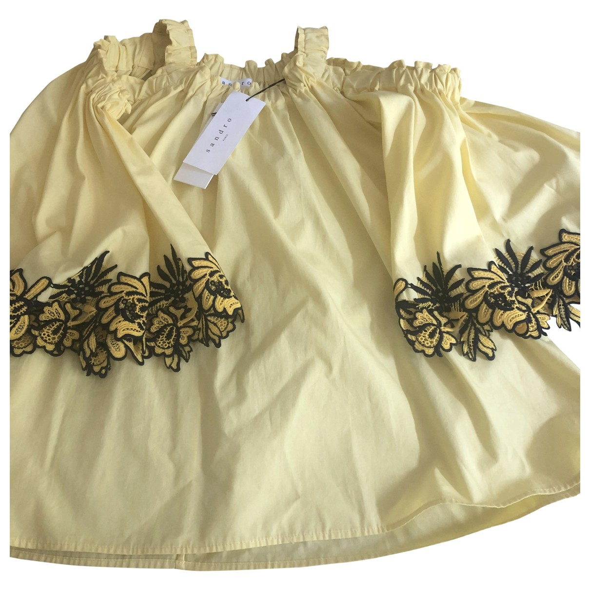Sandro \N Yellow Cotton  top for Women 1 0-5