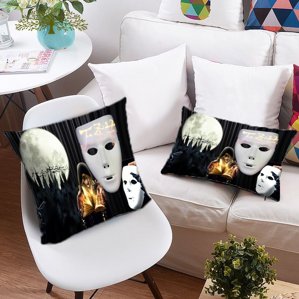 3D Pumpkin & Headstones Halloween Elements Printing Polyester Throw Pillow