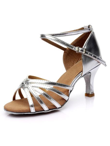 Milanoo Ballroom Dance Shoes Latin Dance Shoes Satin Cirss Cross Ballroom Shoes For Women